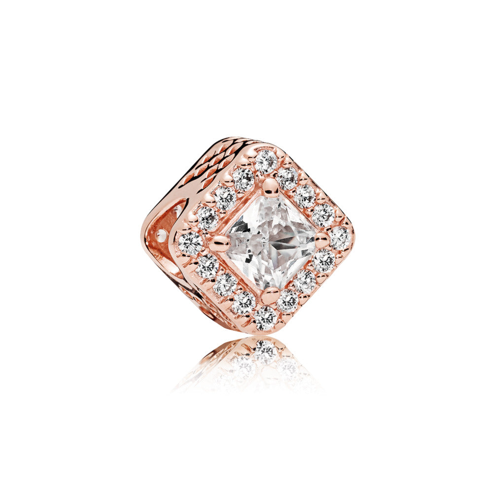PANDORA Rose charm with clear cubic zirconia