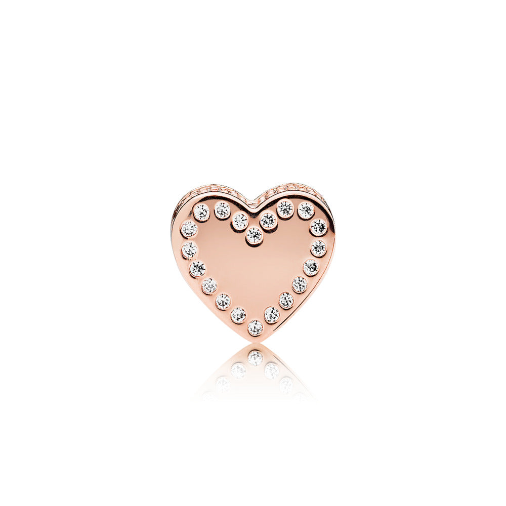 ESSENCE heart charm in PANDORA Rose with clear cubic zirconia