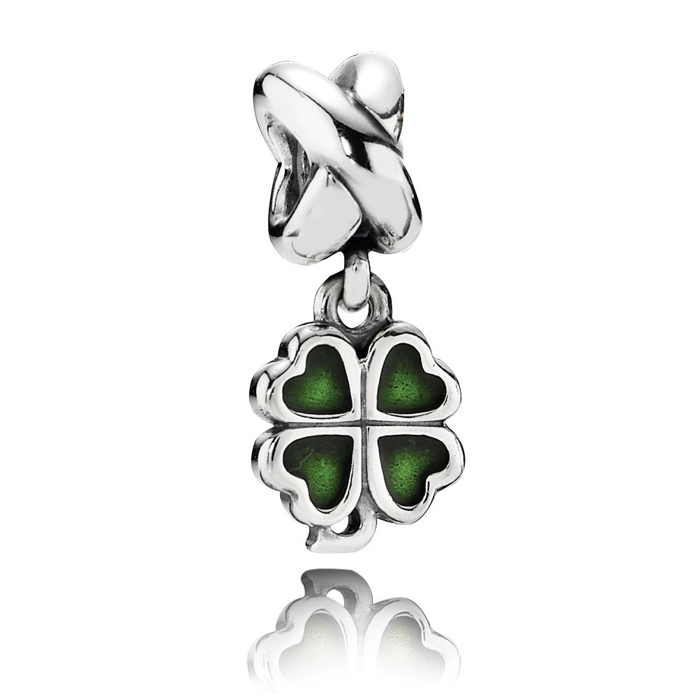 A four leaf clover charm by Pandora.