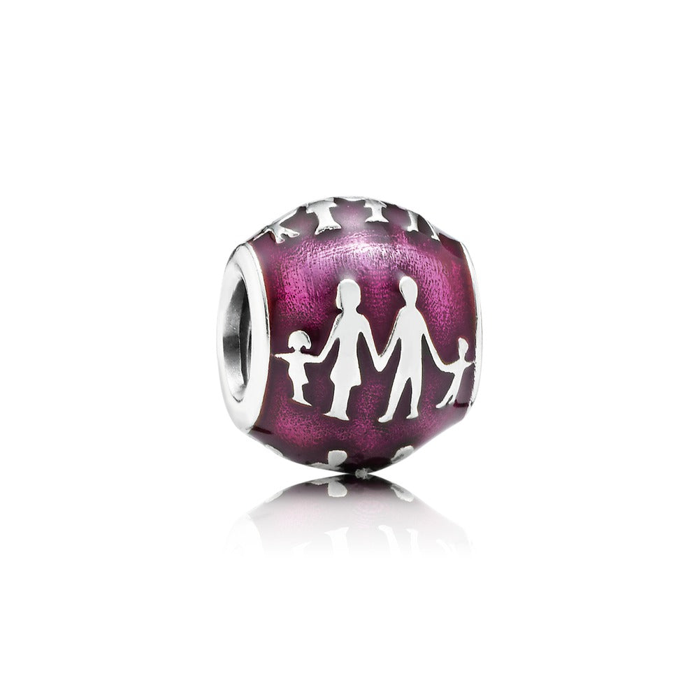 A charm with the Silhouette of a family on it by Pandora.