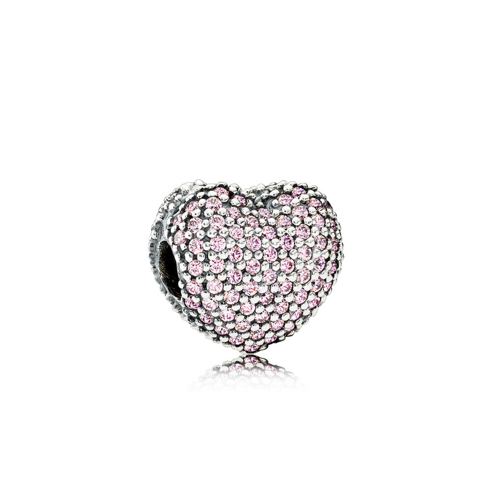 Clip Pavé Open My Heart with Pink Cubic Zirconia