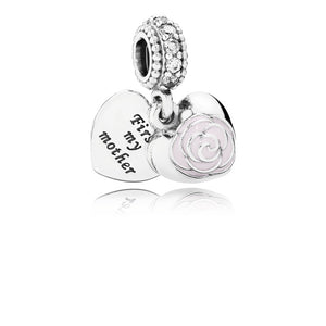Mother's Rose, Pink Enamel & Clear CZ