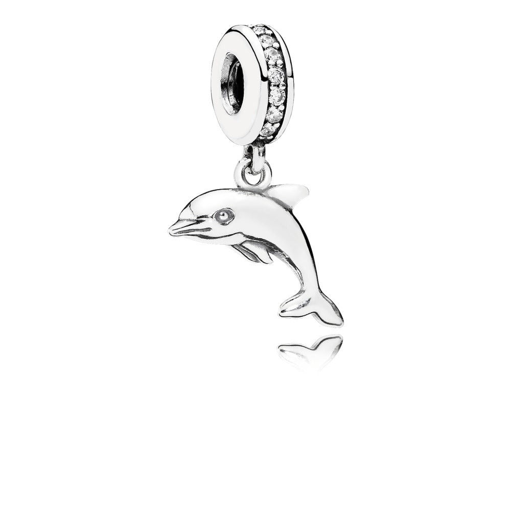 A dolphin dangle charm by Pandora.