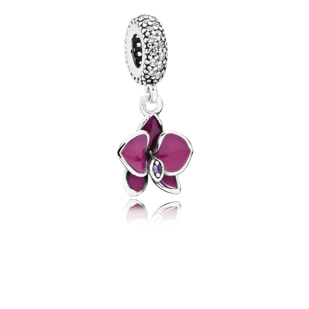 Orchid clear bow charm by Pandora.
