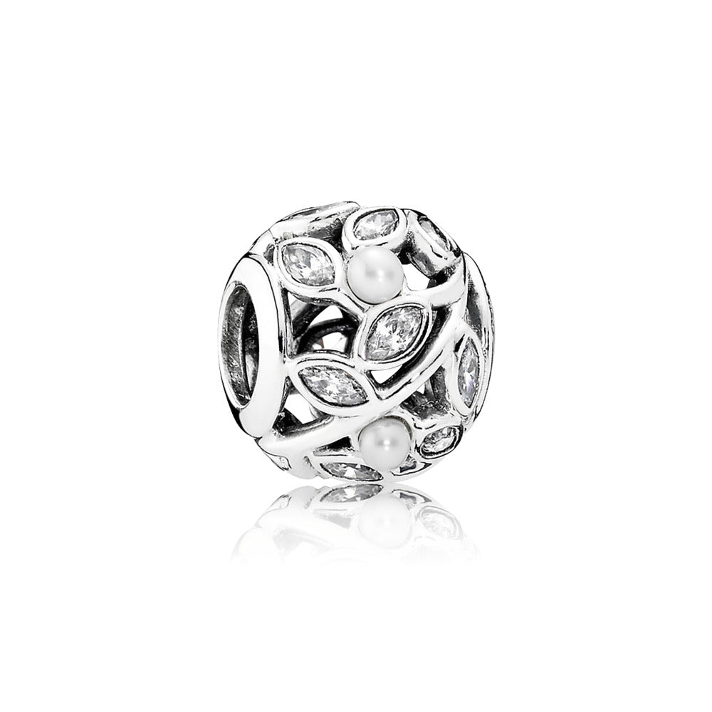 Luminous leaves with white pearls and clear cz by Pandora.