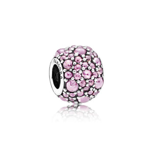 Pink shimmering droplet charm by Pandora.