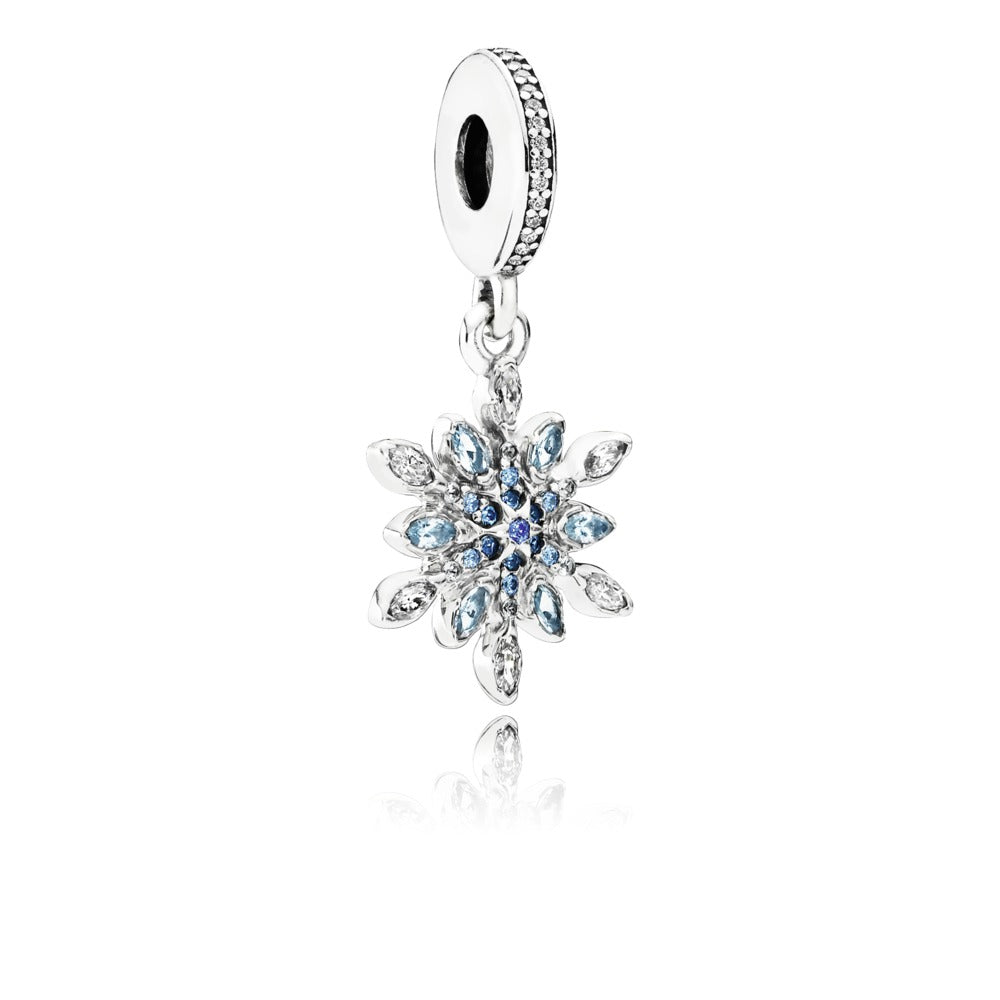 A crystalized snowflake blue crystal charm by Pandora.