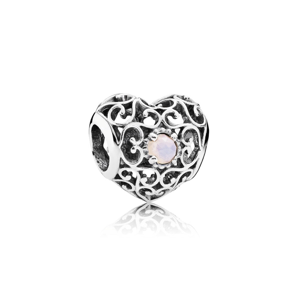 October signature Heart charm by Pandora, Pink crystal.