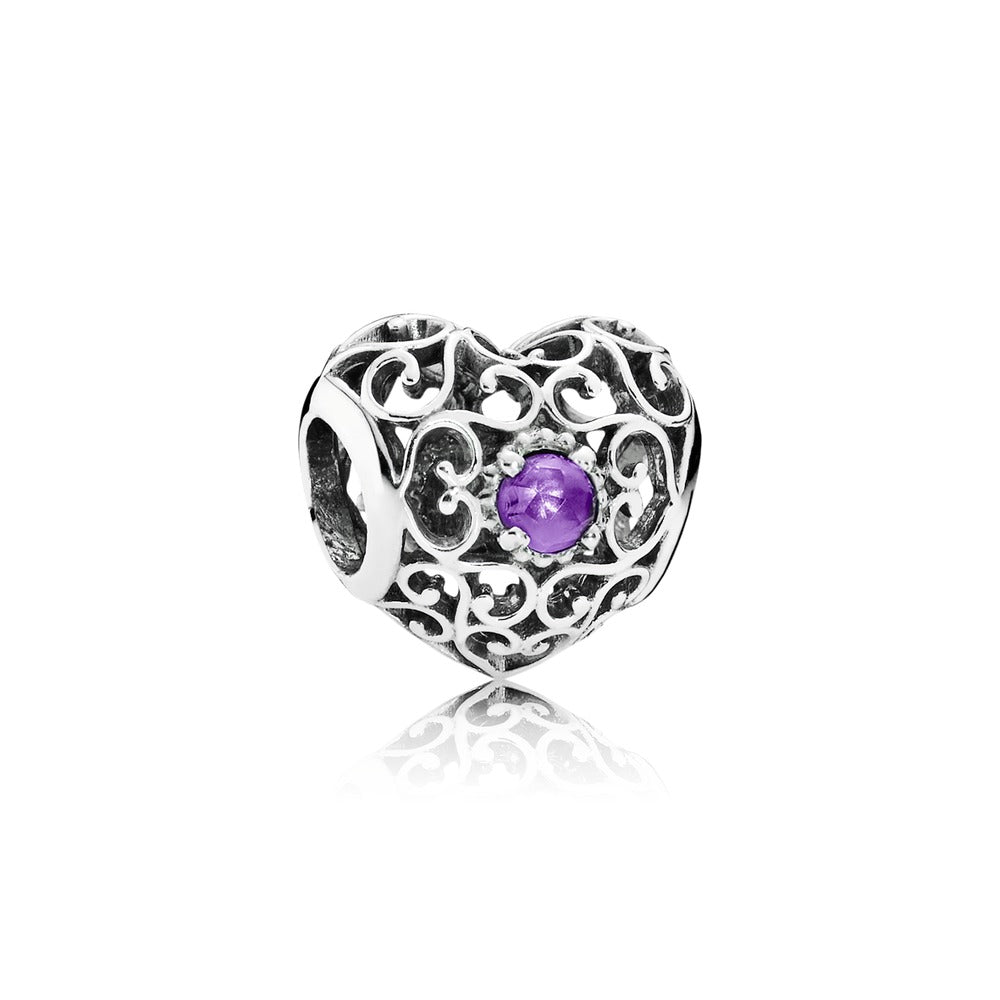 Signature Heart Charm February Amethyst by Pandora.