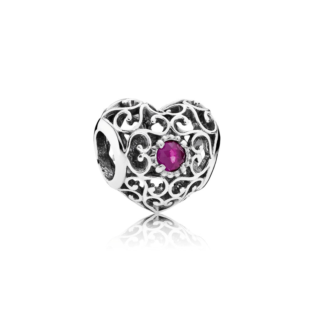 July Signature heart charm ruby by Pandora.