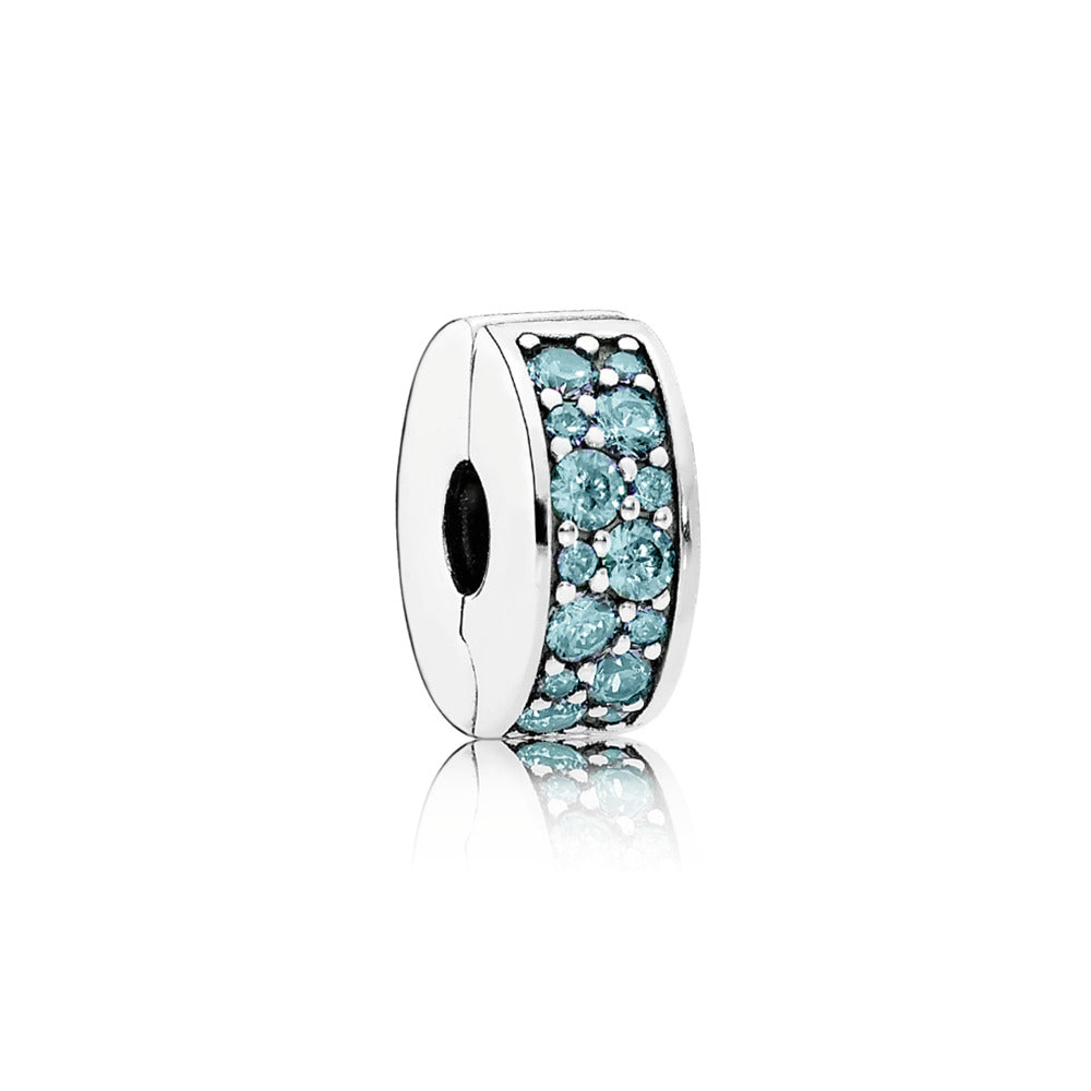 Clip Shining Elegance with 28 Teal Cubic Zirconia and Silicone Grip