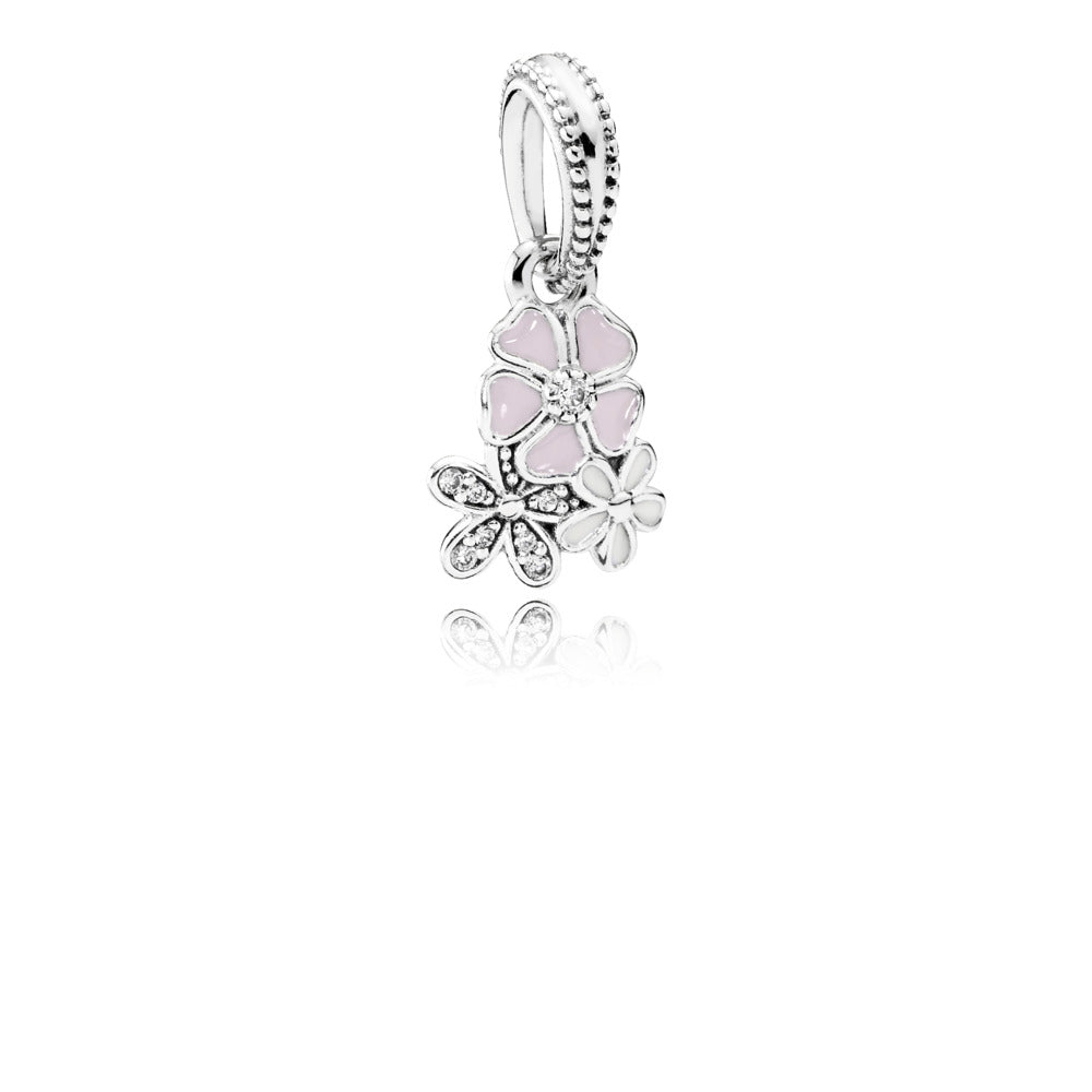 A dangle charm with blooming flowers by Pandora.