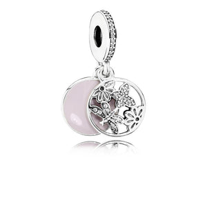 Dangle Springtime with Soft Pink Enamel and Clear Cubic Zirconia