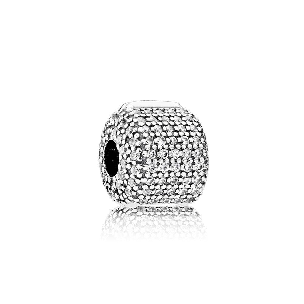 Clip Pave Barrel with Clear Cubic Zirconia