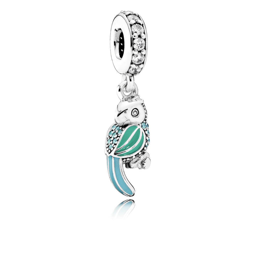 Dangle Tropical Parrot with  Tropical Green & Turquoise Enamel, Teal & Clear Cubic Zirconia