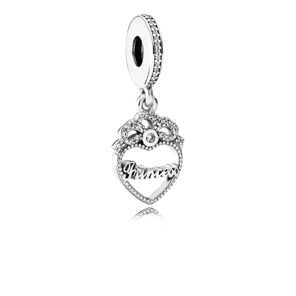 Dangle Princess Crown Heart with Clear Cubic Zirconia