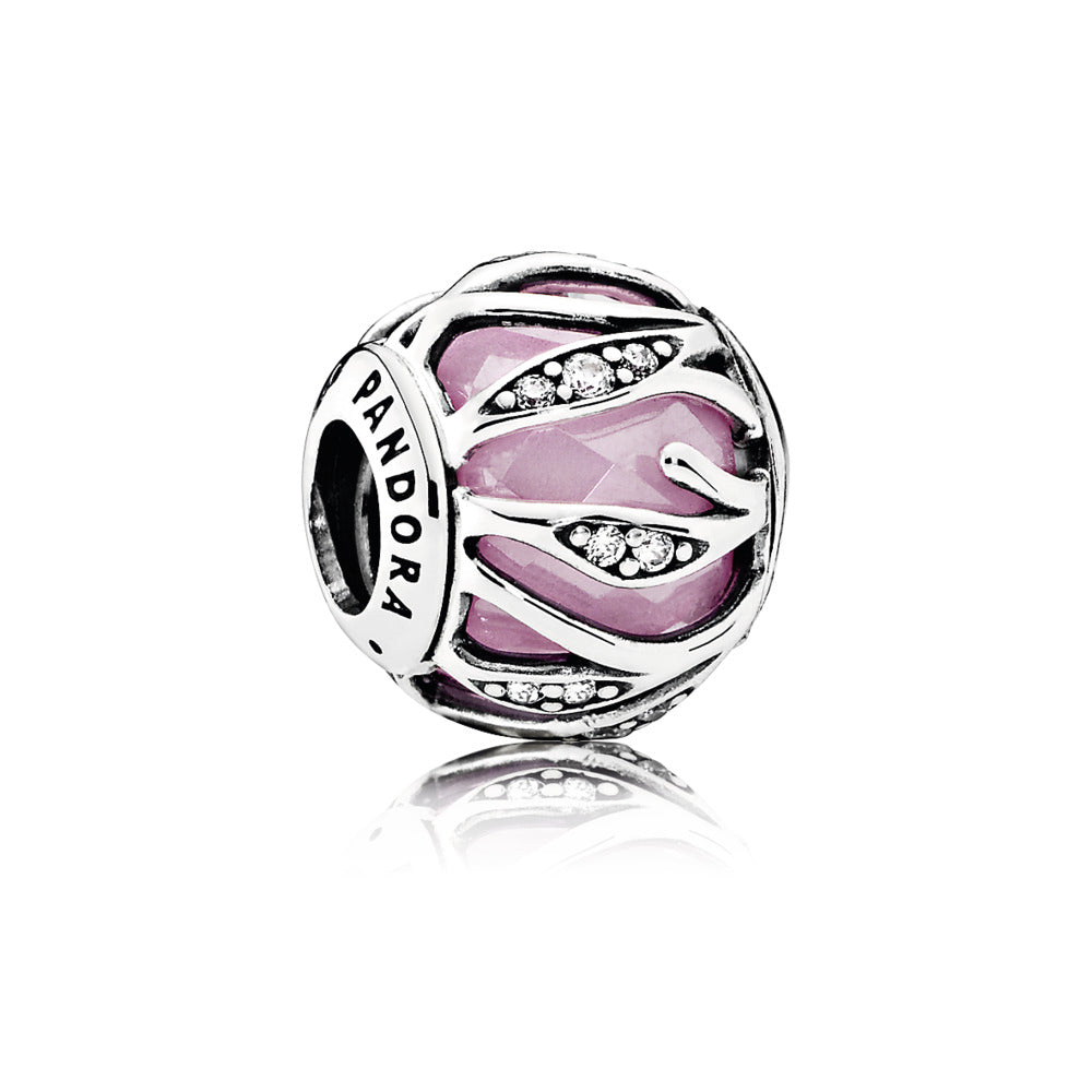 Charm Pink Natures Radiance with Encased Faceted Pink and Clear Cubic Zirconia
