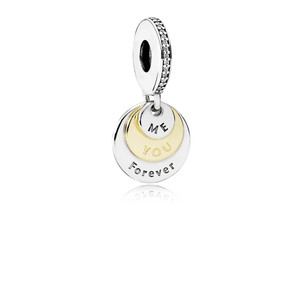"Dangle You & Me Forever with 14K Gold and Engraving ""Me"" ""You"" and ""Forever"" and Clear Cubic Zirconia"