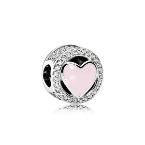 Charm Wonderful Love with Soft Pink Enamel and Clear Cubic Zironia