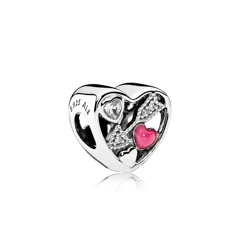 Charm Struck by Love with Magenta Enamel and Cubic Zirconia