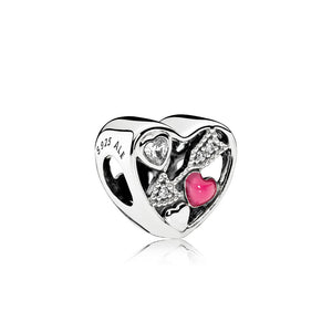 A charm struck by Love with Magenta Enamel by Pandora.