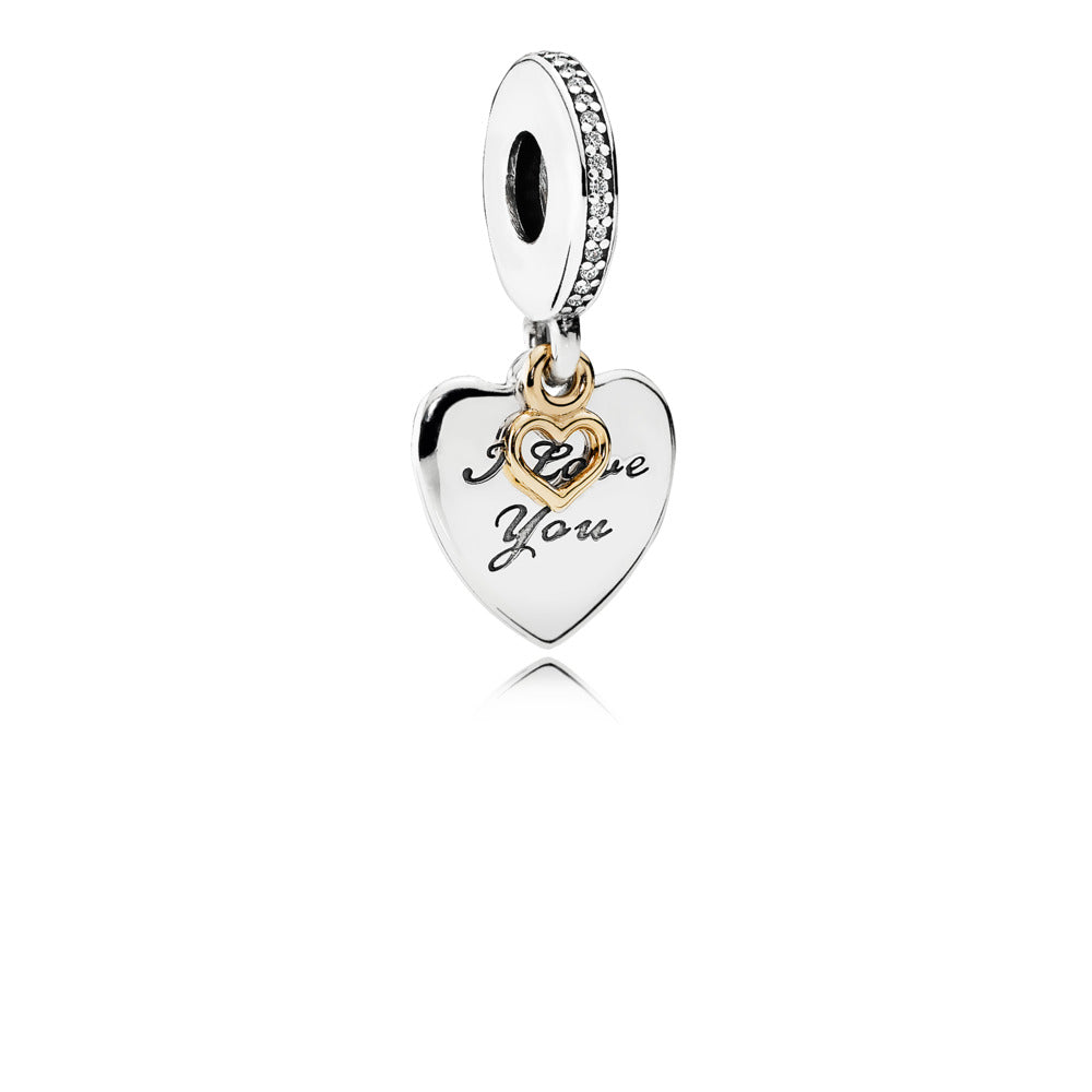 Dangle Love You Forever with 14K Gold heart detail and Clear Cubic Zirconia with engravings