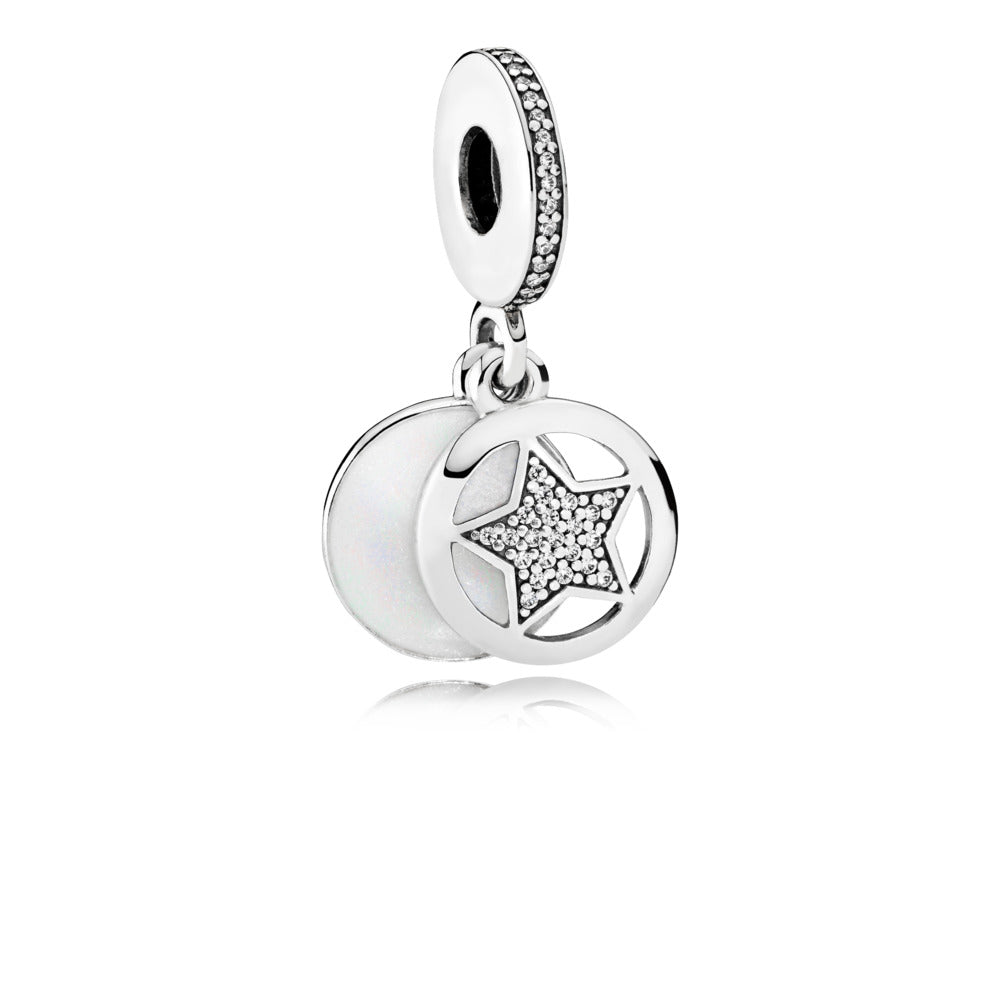"Star dangle in sterling silver with clear cubic zirconia, shimmering silver enamel and engraving ""My friend a star"""