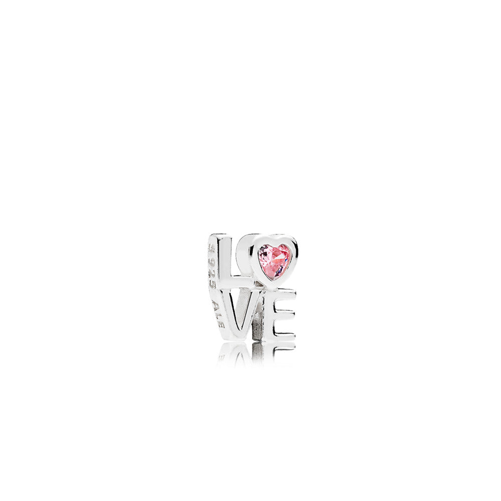 Love petite element in sterling silver with 1 bezel-set heart-shaped pink cubic zirconia