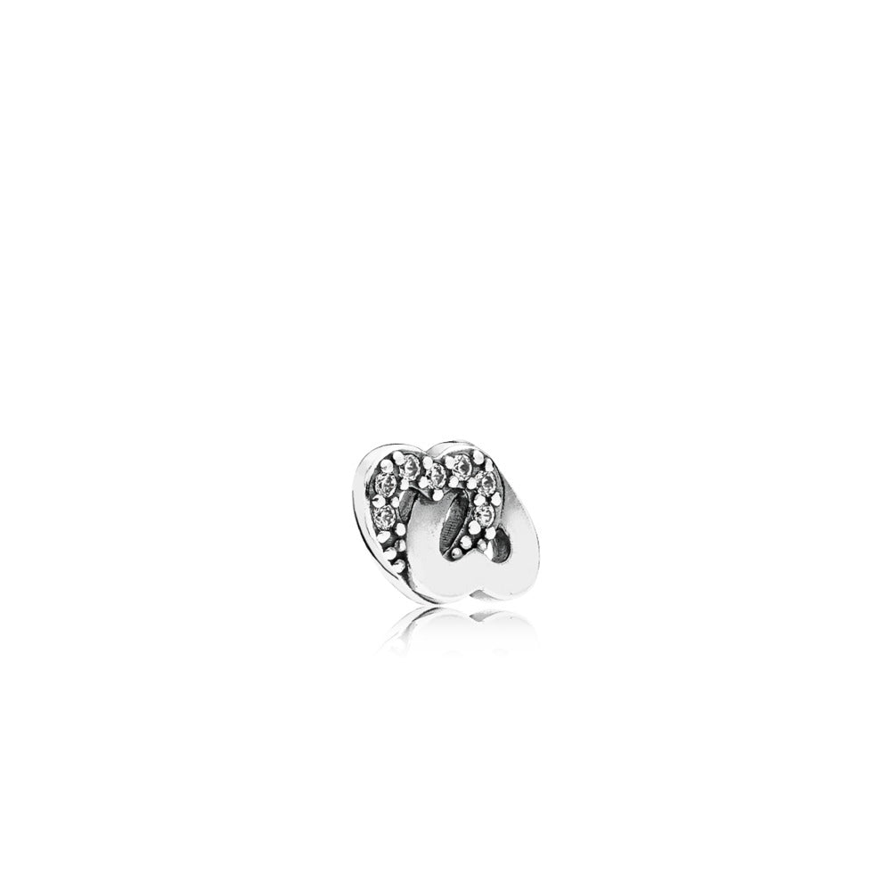 Interlocked hearts petite element in sterling silver with 7 micro bead-set clear cubic zirconia