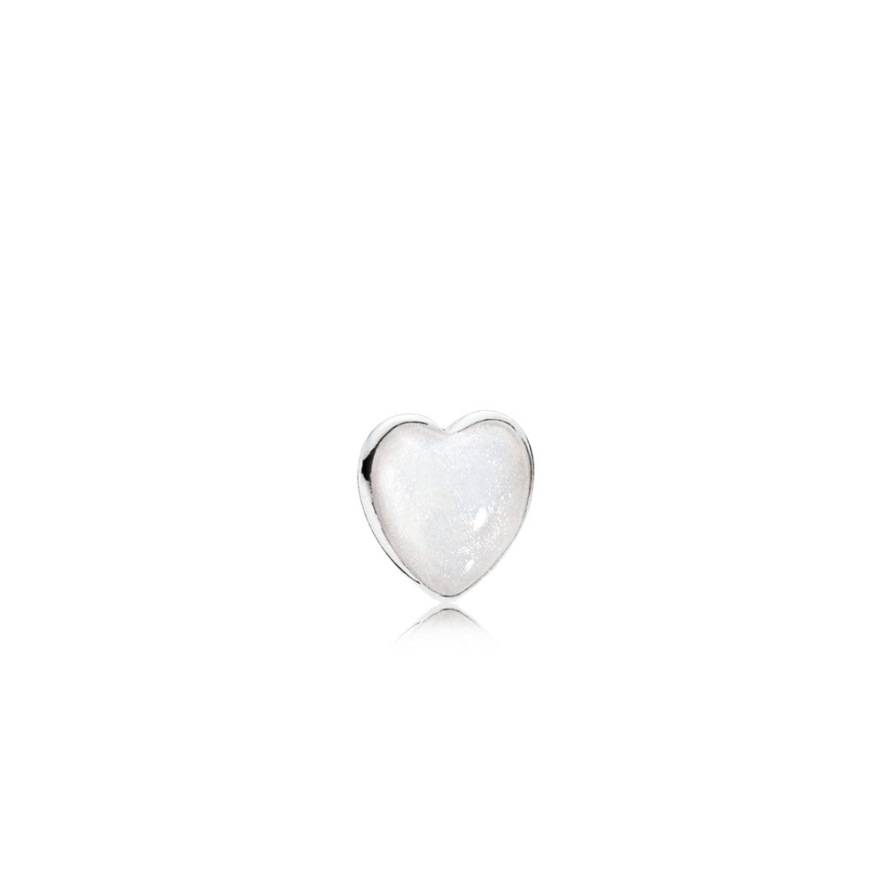 Heart element in sterling silver with shimmering silver enamel
