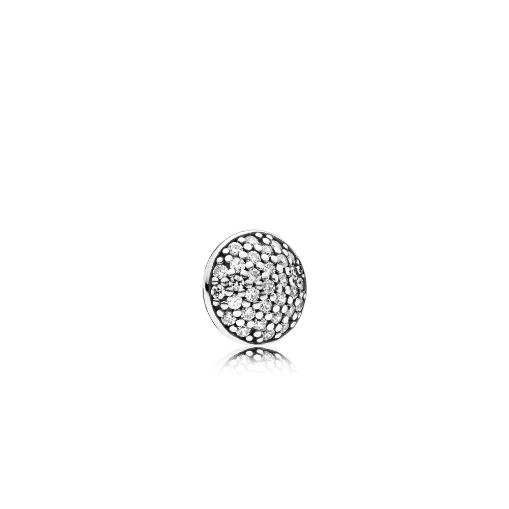 Droplet element in sterling silver with 31 pave set clear cubic