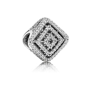 Diamond shaped charm in sterling silver with clear Cubic Zirconia by Pandora.
