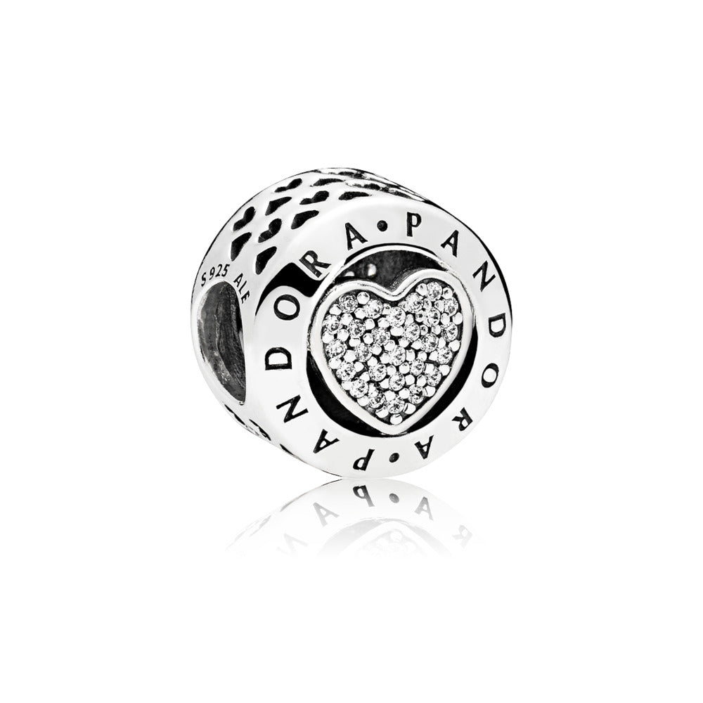 PANDORA logo heart charm in sterling silver with clear cubic zirconia in heart details