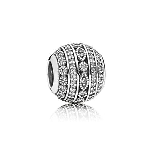 A milgrain detailed sterling silver charm in Cubic zirconia by Pandora.