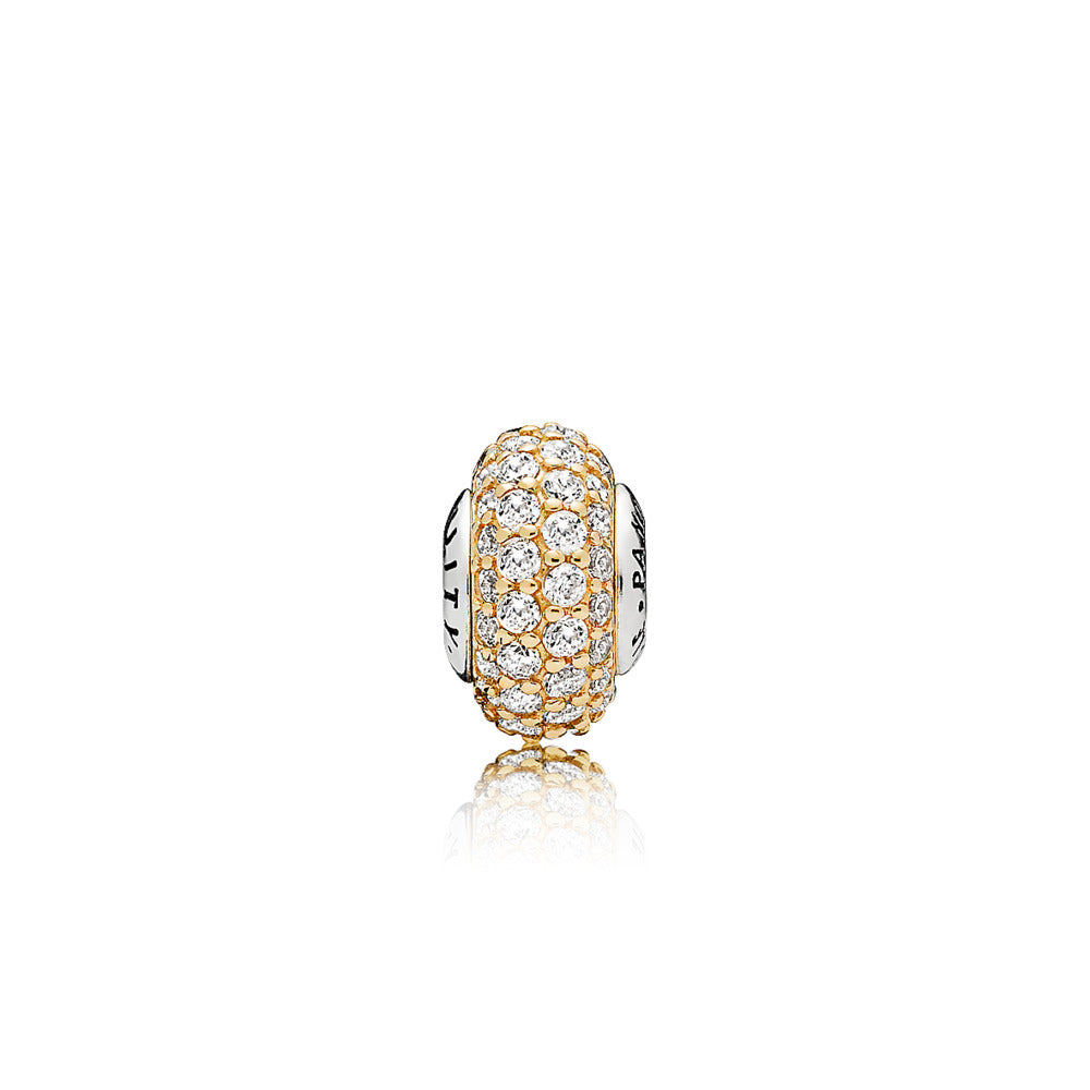 ESSENCE spacer in 14k gold with 72 bead-set clear cubic zirconia and sterling silver core