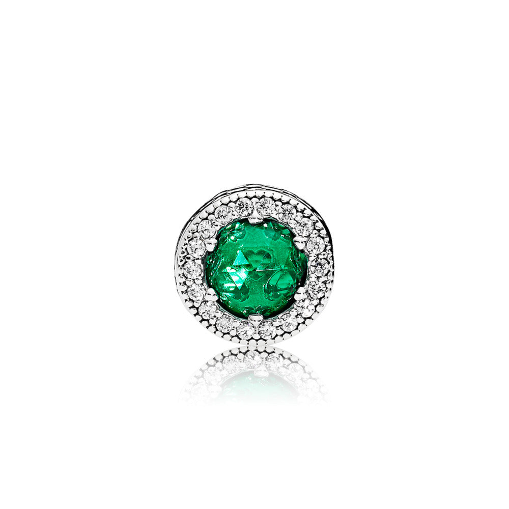 ESSENCE charm in sterling silver with royal green crystals and clear cubic zirconia