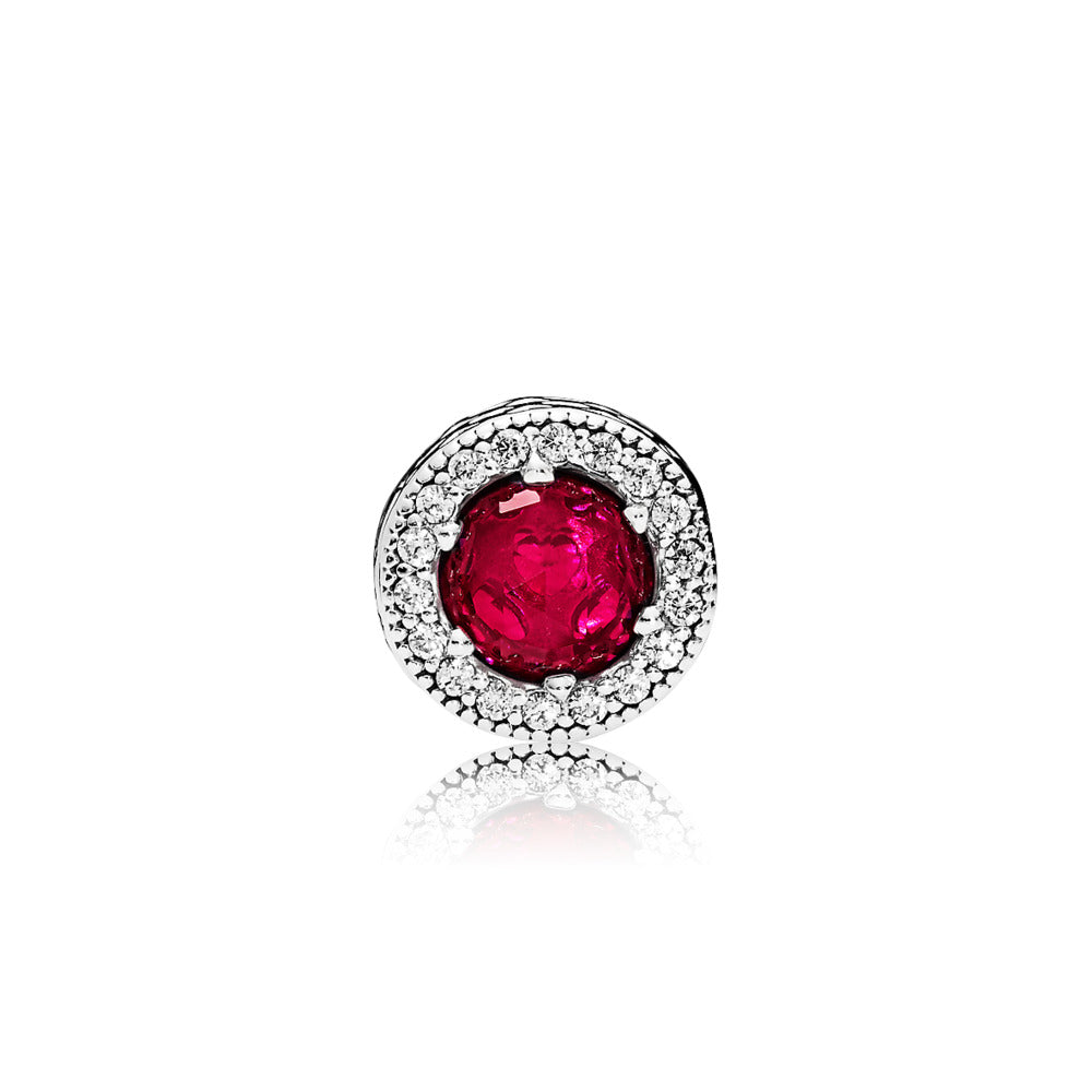 ESSENCE charm in sterling silver with synthetic rubies and clear cubic zirconia