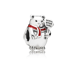 Christmas Polar Bear Charm, Berry Red Enamel