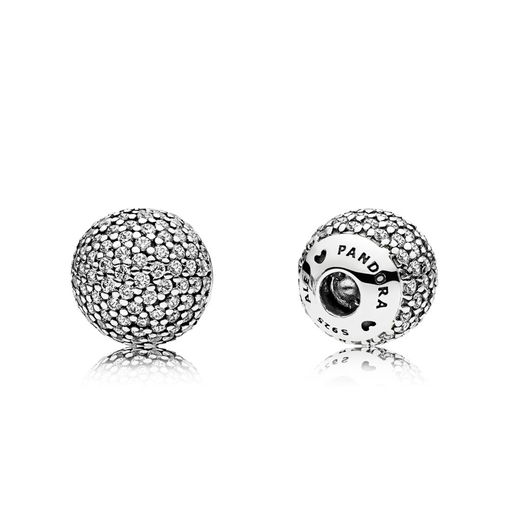 Interchangeable end caps in sterling silver with 127 pavé-set clear cubic zirconia