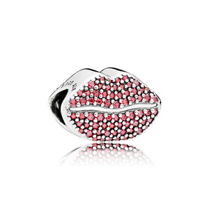 Lip silver charm with red cubic zirconia