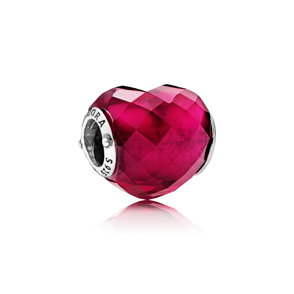 Heart silver charm with faceted fuchsia rose crystal