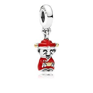 God of wealth dangle in sterling silver with 14k gold details, red and black enamel