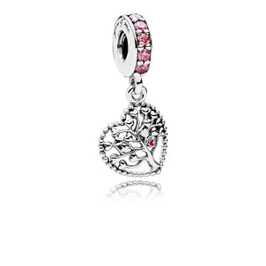 Heart silver dangle with red, pink enamel and mixed pink stones