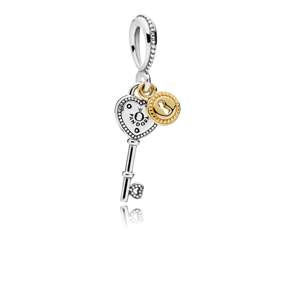 Key silver dangle with 14k padlock