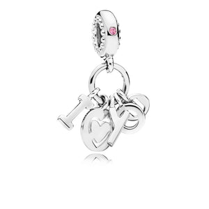 I love you silver dangle with fancy fuchsia pink cubic zirconia