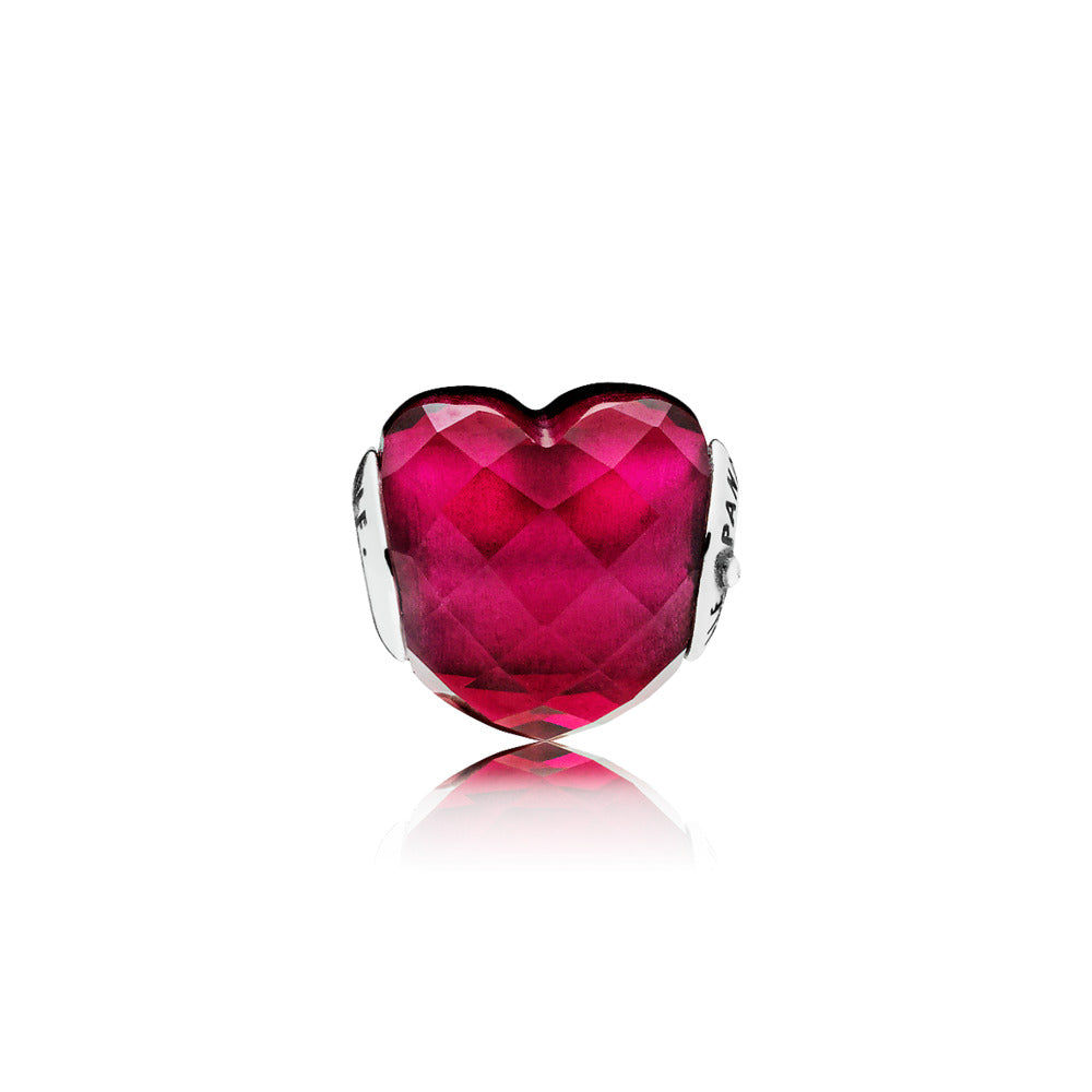 LOVE ESSENCE COLLECTION charm in sterling silver with faceted fuchsia rose crystal