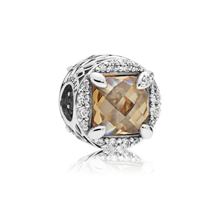 Radiant Grains of Energy Charm, Clear & Golden Colored CZ