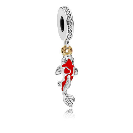 Good Fortune Carp Charm, Clear CZ & Mixed Enamel FISH