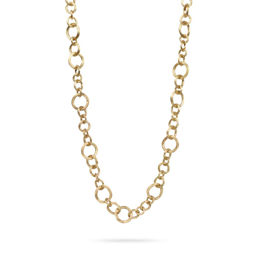 A convertable gold necklace by Marco Bicego features 7 different ways to wear Santa Fe Jewelry.