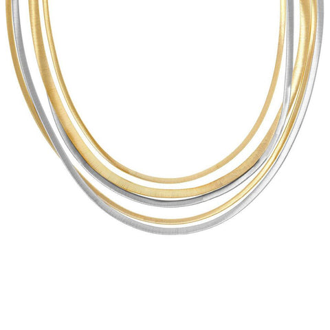 A 5 strand necklace in white and yellow gold by Marco Bicego Santa Fe Jewelry.